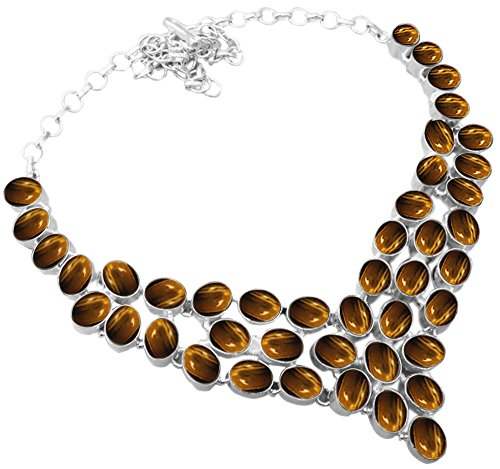 Genuine Tiger Eye 925 Silver Overlay Handmade Fashion Necklace ()