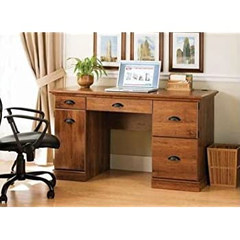 New Oak Finished Vintage Desk Home Office Executive Furniture Décor Wood  Writing Drawing Working Wooden Computer
