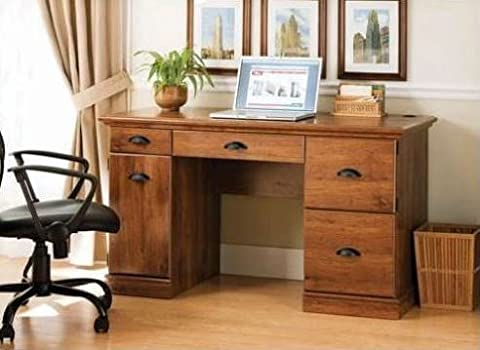 New Oak Finished Vintage Desk Home Office Executive Furniture Décor Wood Writing Drawing Working Wooden Computer Laptop Table Dorm Desks School Adults Children Secretary Workstation with - Hill Home Office Collection