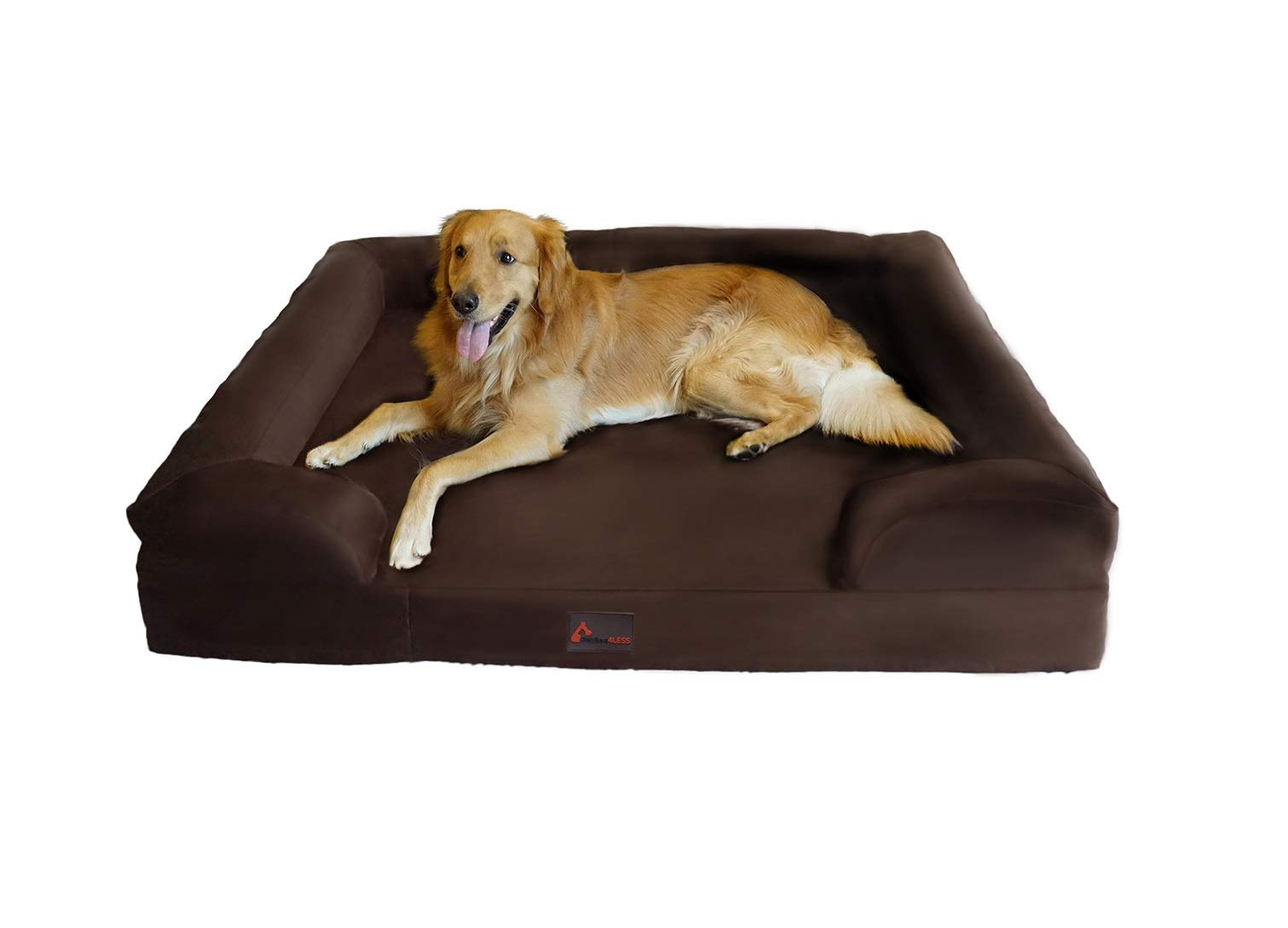 PetBed4Less Deluxe Dog Bed Sofa & Lounge w/Premium Orthopedic Memory Foam and Chew Resistant Zipper Cover + Waterproof Liner [Replacement Zipper Covers Available] by PetBed4Less