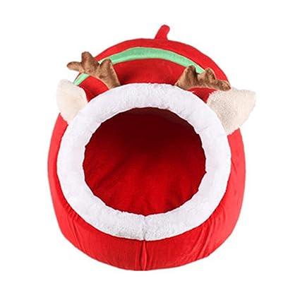 Cálida cama de nido para mascotas, venado de navidad Cama para el gato Casa Acogedora