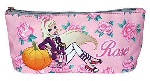 PERLETTI–Regal Academy School Pencil Case per bambine e bambini con stampa rose–rosa–Dimensioni 10x 21x 8cm perletti13012