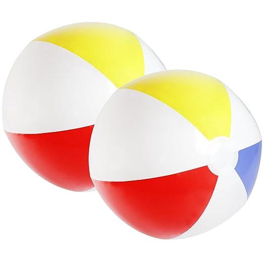 com-four® 2X Pelota de Playa, Pelota de Playa en Colores Frescos y ...