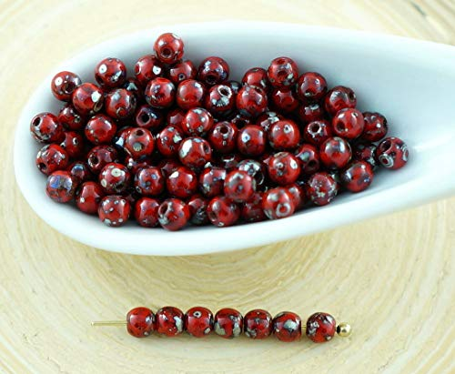 100pcs Picasso Silver Opaque Coral Red Round Czech Glass Beads Small Spacer 3mm