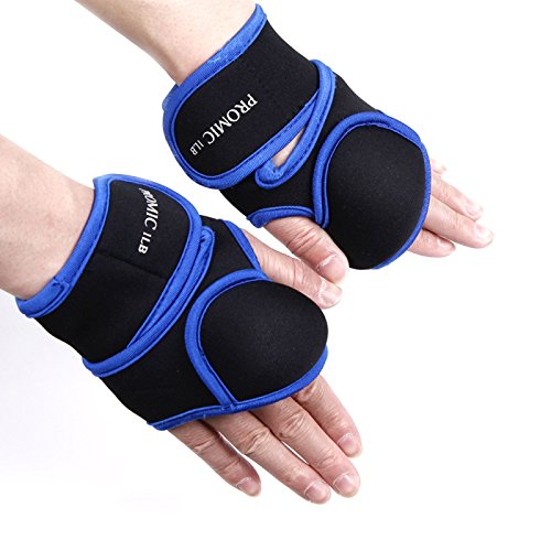 PROMIC Women's Weighted Fitness Gloves – 1 Pound Each Glove for Cardio Aerobics Hand Speed Coordination Shoulder Strength and Kickboxing(Sold in Pair)