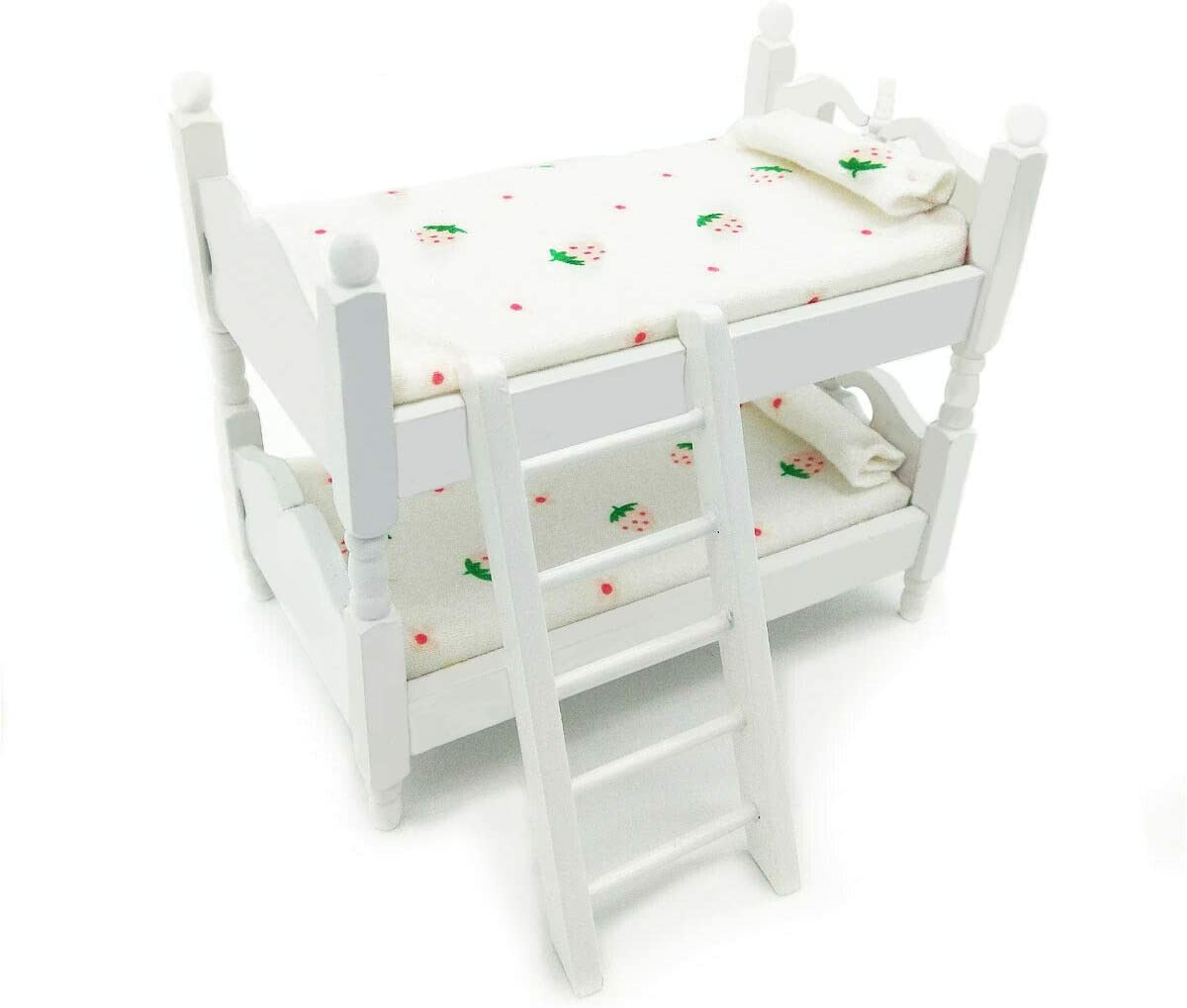 Posee Miniature Children Bedroom Bunk Bed Dollhouse 1:12 Furniture Accessories (Strawberry)