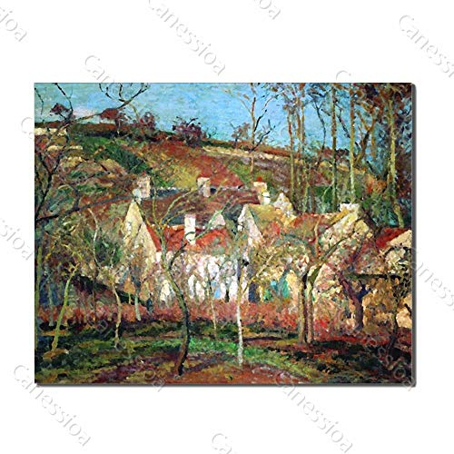 Canessioa Art Hand Painted Paintings Village in The Forest Red Blooms On Canvas Artwork Vertical Wall Art Framed Artwork for Living Room Bedroom Hallway Office Modern Home Decor(32x24inch Unframed)