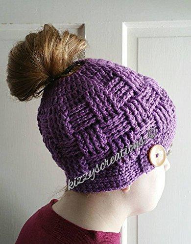 Messy Bun Ponytail Crochet Hat #8