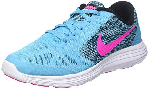 Nike Mädchen Revolution 3 Laufschuhe, Blau (Gamma Blue/Pink Blast-Blck-Wht), 38.5 EU