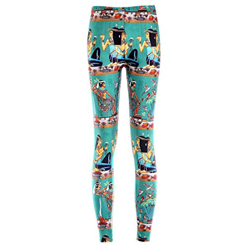 Women's 3D Egypt Totems Printed Punk Rock Full Length Leggings LightSeaGreen