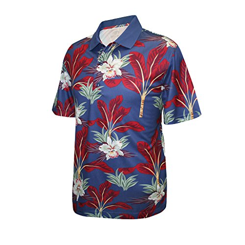Monterey Club Men's Dry Swing Palm Tree Print Polo Shirt #1532 (Midnight Blue/Deep Claret, Large)