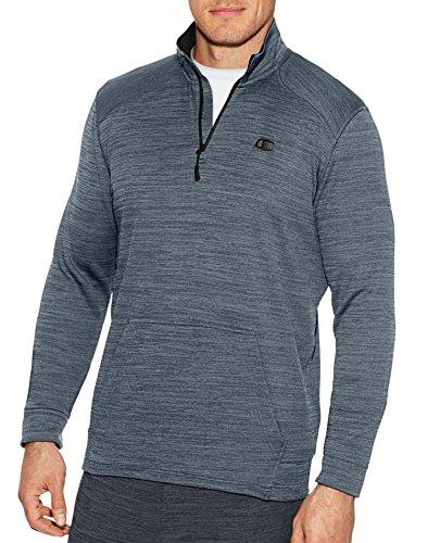 Champion Men's Premium Performance Fleece Quarter-Zip Pullover, Concrete Heather/Black, 2X-Large - Quarter Zip Shirt