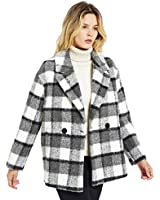 CASODA Women's Wool Lapel Coat Double Breasted Plaid Overcoat Warm Trench Outerwear Pea Coat,Classic Plaid,S