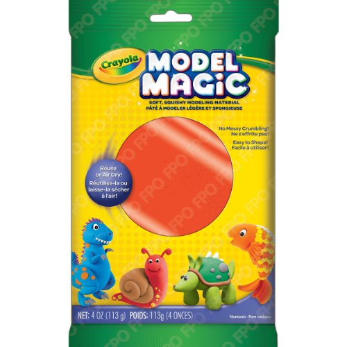 Crayola Model Magic, Neon Red, 4 Ounce No-Mess, Soft, Squishy, Lightweight Modeling Material For Kids 4 & Up, Easy to Paint and Decorate, Air Dries Smooth - 57-6001-0-091 - Magic Crayola Clay