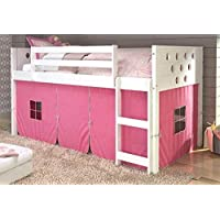 Donco Kids 721801 79 in. Twin Circles Low Loft Bed Tent, Pink