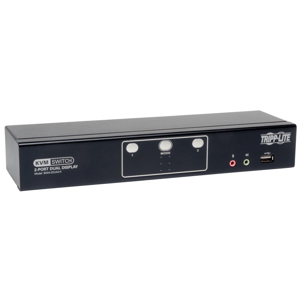 Tripp Lite 2-Port Dual Monitor DVI KVM Switch with Audio, USB 2.0 Hub & Cables (B004-2DUA2-K)