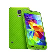 Cruzerlite Carbon Fiber Skin for The Samsung Galaxy S5, Retail Packaging, Lime Green (Full Kit