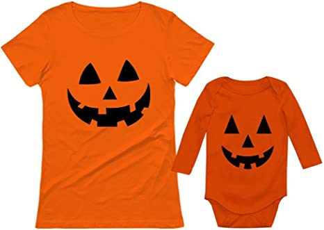 Orange Jack O/' Lantern Pumpkin Face Halloween Costume V-Neck T-Shirt Funny