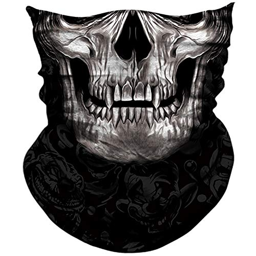 AXBXCX 3D Skull Skeleton Neck Gaiter Face Mask for Motorbike Motorcycle Cycling Riding Hiking Hunting Fishing Skateboard Powersports Cosplay Halloween Party Music Festivals Raves Face Mask PL180262]()