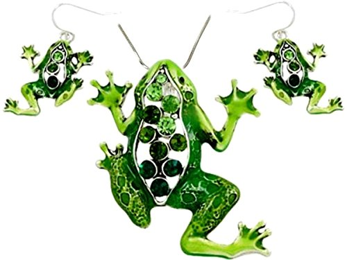 DianaL Boutique Large Beautiful Emerald Green Frog Pendant Necklace and Earrings Set 24