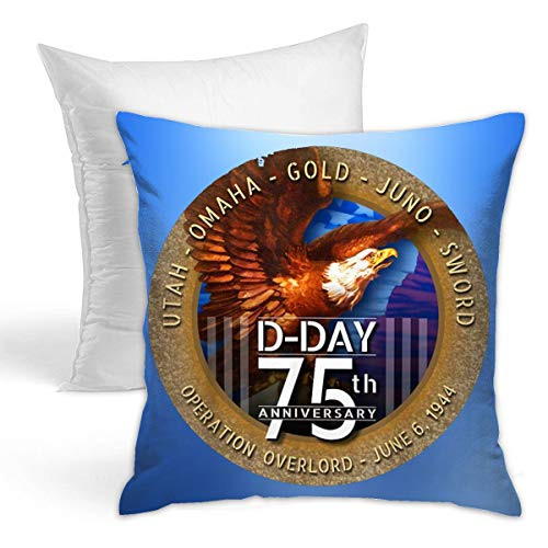 Miuins WWII D-Day 75th Anniversary Bald Eagle US Flag Hold Pillow (Including Pillow Core) 1616 -