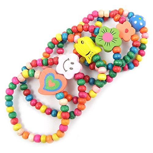 12 Sets Princess Jewelry,Kid Girl Wooden Stretch Candy Color Bead Necklace Bracelet Set Costume Play Toddler Children(Color Random) (Candy Beads Bracelet)