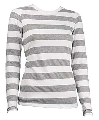 Amazon.com  Largemouth Women s Long Sleeve Striped Shirt Heather Gray White  (XS)  Clothing 3c079ba3835