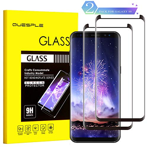 QUESPLE Galaxy S8 Glass Screen Protector, [2-Pack] Tempered Glass Screen Protector [9H Hardness][Anti-Scratch][Anti-Bubble][3D Curved] [High Definition] [Ultra Clear] for Samsung Galaxy S8