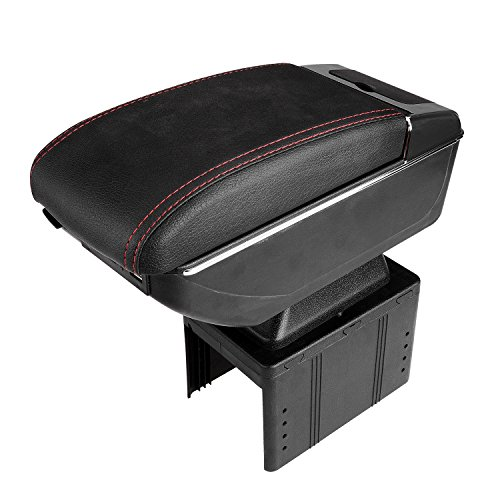 FLY5D Universal Leather Sliding Armrest Center Console Armrest Storage Box (Black B) (Universal Center Armrest compare prices)
