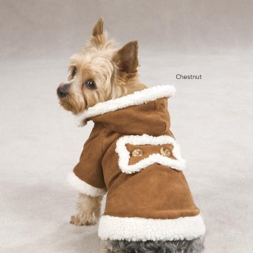 East Side Collection 14-Inch Polyester Hooded Sherpa Dog Jacket, Small/Medium, Chestnut, My Pet Supplies