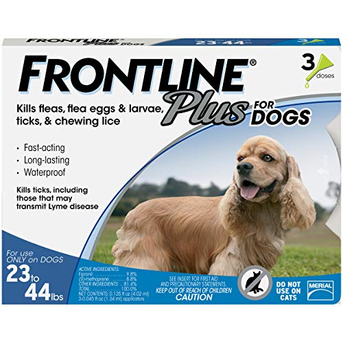 Frontline Plus for Dogs Medium Dog (23-44 pounds) Flea and Tick Treatment, 3 Doses - Frontline Plus Dog Flea Control