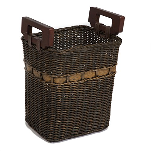 The Basket Lady World's Smartest Wicker Waste Basket One Size Antique Walnut Brown ()