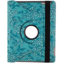 TCD for Apple iPad 2nd 3rd 4th Generation Blue Fancy PU Leather Embossed Flower Design 360 Rotation Case & Kick Auto Wake/Sleep Feature