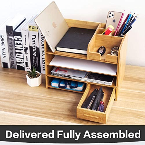 Bamboo Desktop Organizer | Home Office Bamboo Desk Drawer Organizer – 4 Tier Durable Wood Table Top Storage for Pencils, Notepads, Documents & Office Supplies 51zlxhxyn 2BL