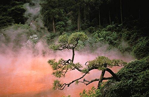 (Posterazzi Japan Beppu Kyushu Mist From Chinoike Jigoku (Blood Pond Hell) Red Volcanic Pool Poster Print (17 x 11))
