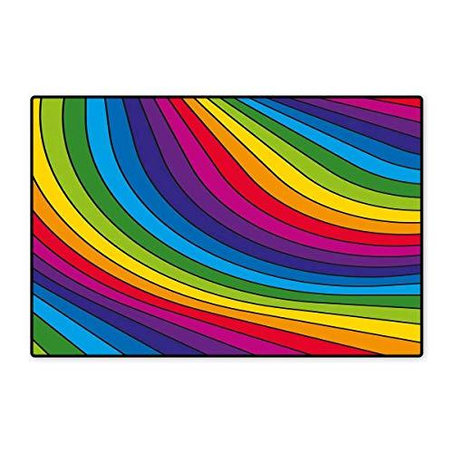 Vibe Carpet Deluxe - Rainbow Bath Mats for Floors Hallucinatory Rainbow Stripes Pattern Retro Vibes Vibrant Colors Visual Fantasy Customize Door mats for Home Mat 24