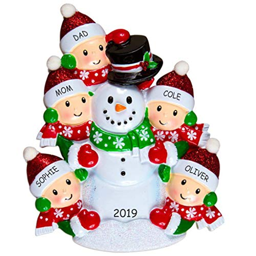 DIBSIES Personalization Station Personalized Snowman Fun Family Christmas Ornament (Family of 5)