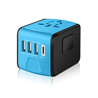 SAUNORCH Universal International Travel Power Adapter W/High Speed 2.4A USB, 3.0A Type-C Wall Charger, European Adapter, Worldwide AC Outlet Plugs Adapters for Europe, UK, US, AU, Asia-Blue: Electronics