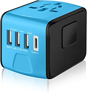 SAUNORCH Universal International Travel Power Adapter W/High Speed 2.4A USB, 3.0A Type-C Wall Charger, European Adapter, Worldwide AC Outlet Plugs Adapters for Europe, UK, US, AU, Asia-Blue