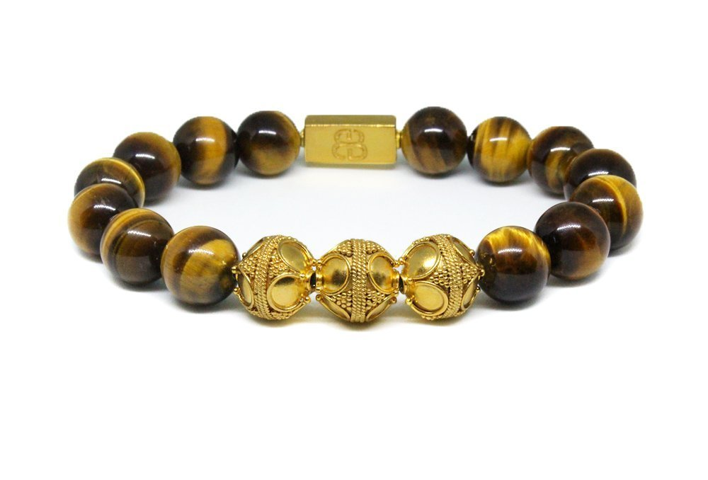 Tiger's Eye and Gold Vermeil Bracelet, Men's Tiger's Eye and 22 Karat Gold Vermeil Bali Beads Bracelet, Premium Quality Bracelet