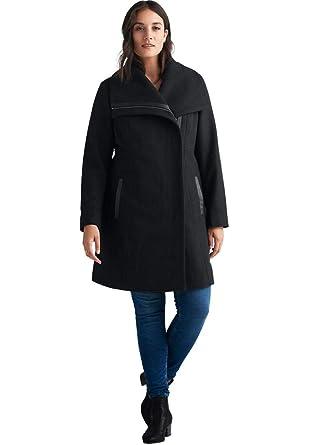 afcdbc180d5 Amazon.com  Ellos Women s Plus Size Wool-Blend Asymmetrical Zip Coat ...
