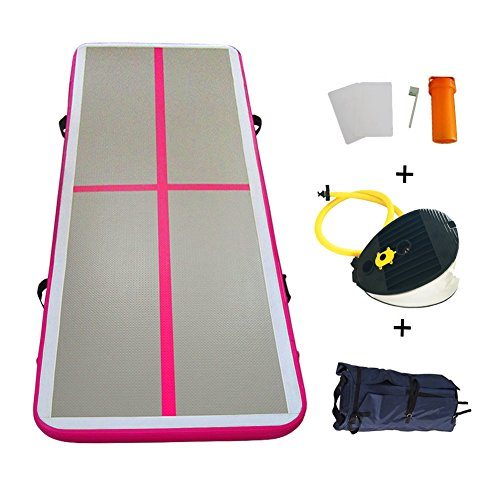 Inflatable Tumbling Gymnastic Air floor Mat Track Cheerleading for Home Use/Cheerleading/Beach/Park and Water (PINK)