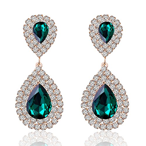 Miraculous Garden Womens Silver Gold Rose Gold Plated Crystal Rhinestone Wedding Hypoallergenic Drop Earrings for Mother's Day (Gold Plated Green Crystal)