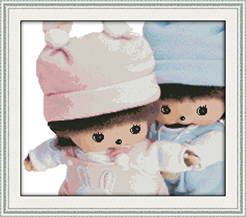 Cross Stitch Stamped Kits for Beginners 11CT 3 Strands DIY Handmade Needlework Set Cross Stitching Stamped Patterns Embroidery Frameless Home Decoration - The Childhood of Monchhichi 56x49cm