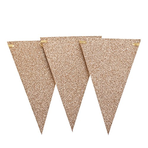ling's moment 10 Feet Vintage Triangle Flags Bunting Pennant Banner for Wedding Christmas Thanksgiving New Year Eve Garden Flag Decor, Double Sided Champagne Gold Glitter, 15 Flags, Pack of 1 Vintage Gold Sparkle