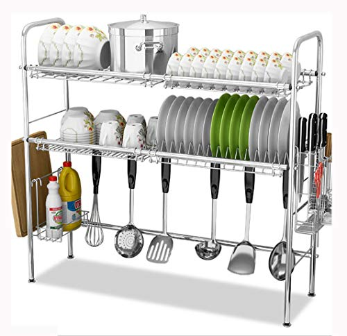 - Stainless Steel Sink Drain Rack Storage Shelf, Dish Rack Cutting Board Knife Chopstick Holder Kitchen Shelves, Multi-Style Optional (Color : Silver, Design : B-Single slo)
