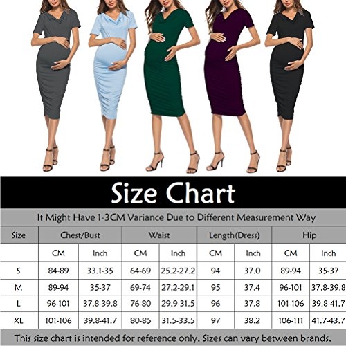 Zhuhaijq マタニティマキシ 授乳服 ロゴ ワンピース ロング 丈 春 夏 楽ちん ルーム ウェアWomen's Summer Casual Sundress Skirt Maternity Wrap O-Neck Pleat Side Dress