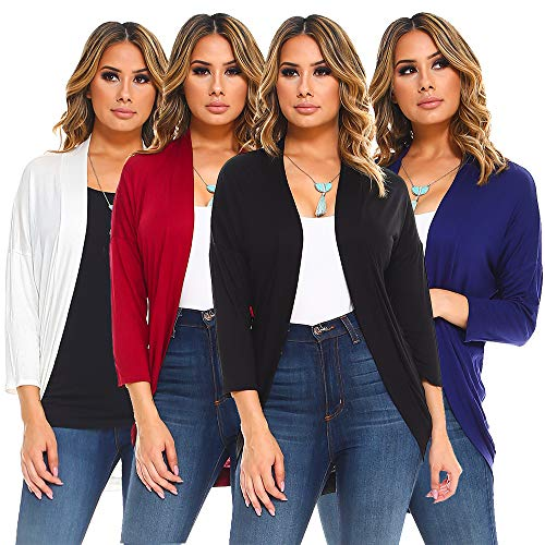 Isaac Liev Women's 4-Pack Elbow Sleeve Curved Hem Cardigan (Small, Black, Navy, Ivory & Burgundy) from Isaac Liev