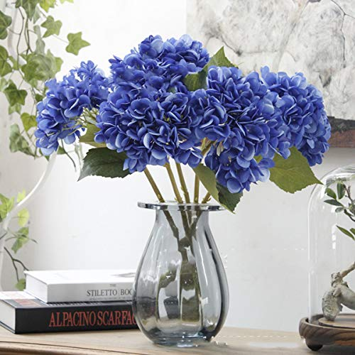 Furnily 5 Pcs Hydrangea Artificial Flowers for Home Decoration Wedding Party Office (Deep Blue)