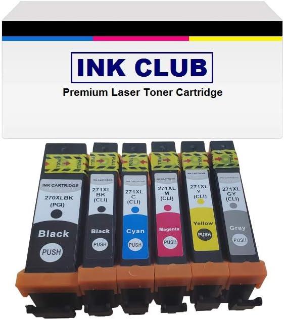 Ink Cartridge Set with Chip 1+1+1+1+1+1 InkClub 6PK Compatible PGI-270XL CLI-271XL BK//B//C//M//Y//GY for Use in Canon PIXMA MG5720 MG5721 MG5722 MG6820 MG6821 MG6822 MG7720 TS5020 TS6020 TS8020 TS9020